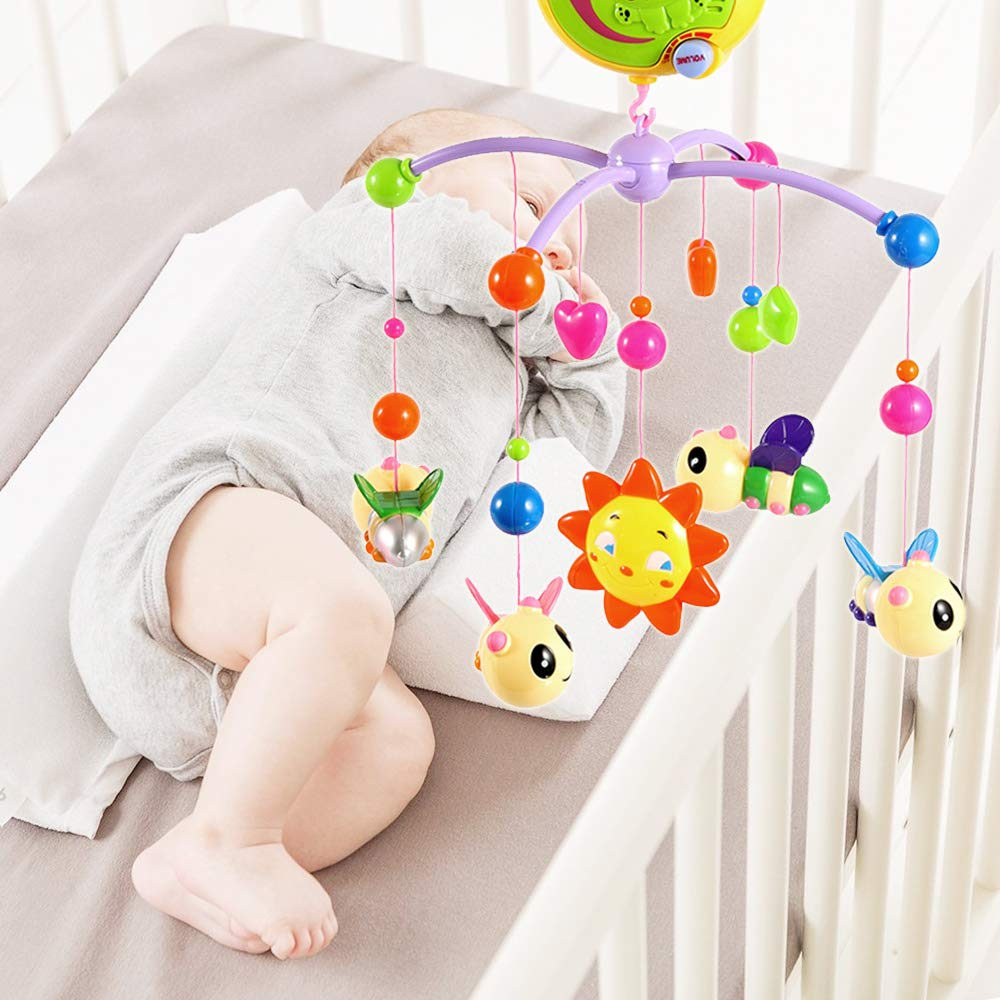 Baby Musical Cot Mobile Portable Colorful Electric Rotating Music Bed Bell Set for Girl /& Boy Infant Toddler Pink