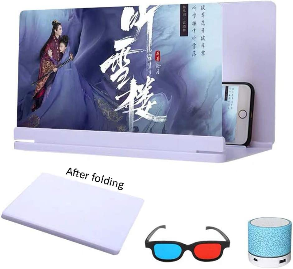 DevileLover 20 inch Phone Screen Magnifier Protect Eyes Amplifier Enlarger Zooms 3-5 Times 3D HD Movie Video Amplifier Large Field of View Anti-Fatigue Foldable Screen Magnifier,White,20in-B