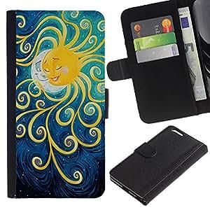 KLONGSHOP // Tirón de la caja Cartera de cuero con ranuras para tarjetas - Pintura Luna Kids sueño de la noche - Apple Iphone 6 PLUS 5.5 //