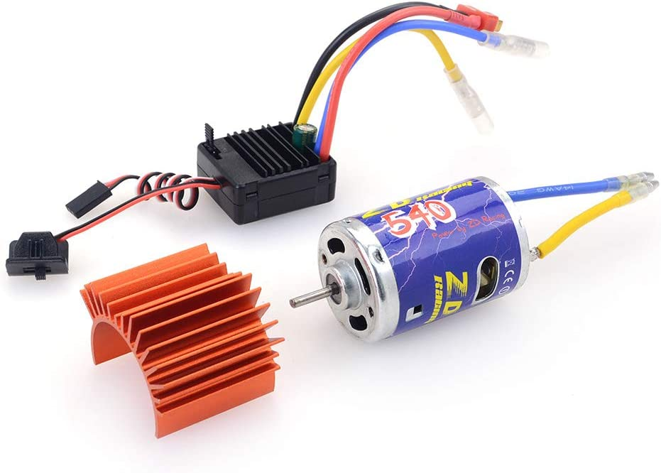 IPOTCH RC 540 Brushed Motor with 45A ESC Electronic Speed Controller Combo /& Heatsink Set Upgrade Power System for 1:10 Car Truck Boat Crawler