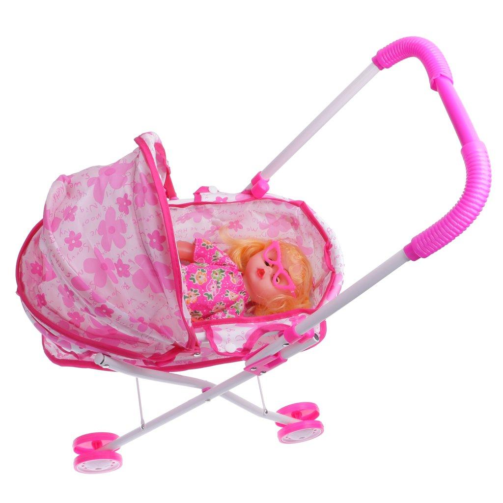 MagiDeal Pink Dolls Pram Set Buggy Pushchair Stroller Toy Baby Doll Cot Girls Present non-brand