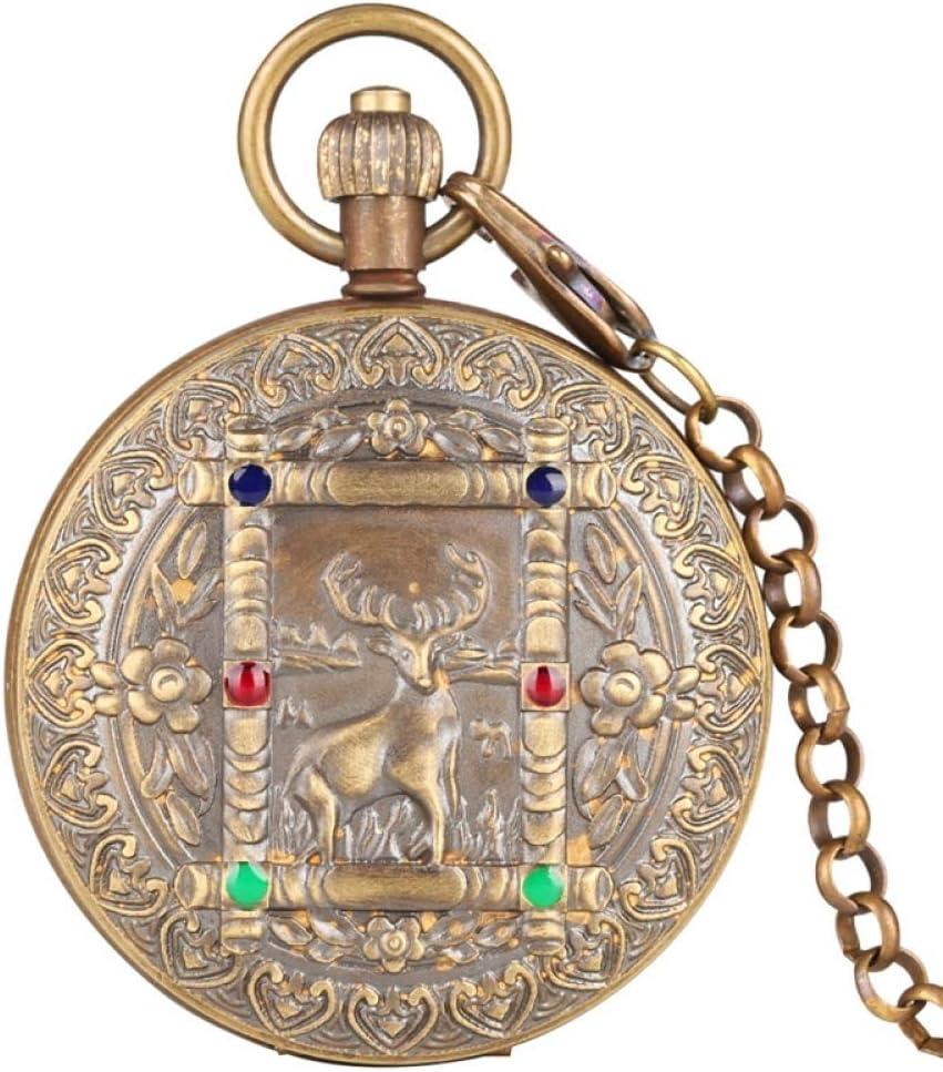 SDVIB Reloj de Bolsillo Pure Copper Elk Deer Flower Design Tourbillon Phase Sun Reloj de Bolsillo mecánico Vintage Mismo Reloj Doble Cazador Completo con Cadena