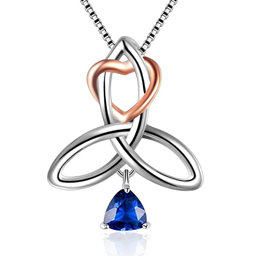 Sterling Silver Irish Celtic Knot Triangle Love Heart Pendant Necklace, Box Chain 18''