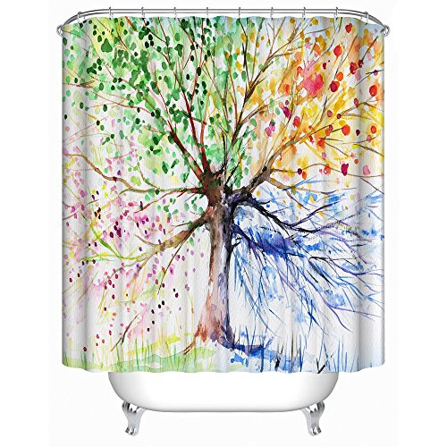 Uphome Bathroom Curtains Colorful Polyester