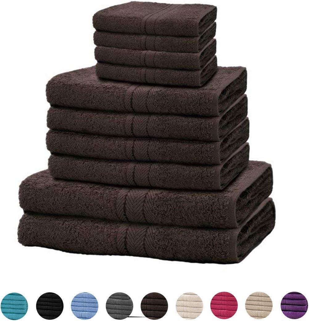 Black 10 Pieces Towel Bale Sets 100/% Natural Egyptian Cotton Towels Bale Set 500 GSM Super Soft Extra Absorbent Face Hand and Bath Towels Sets