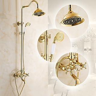 ZHFC Retro stile europeo in bronzo Set doccia combo per doccia a pioggia da bagno Sistema di doccia a pioggia regolabile ad altezza a parete