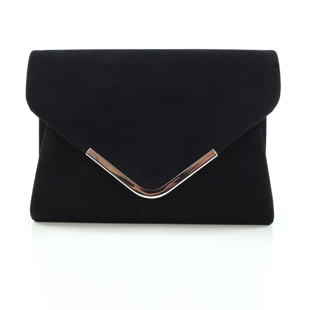 Essex Glam Women's Black Faux Suede Envelope Evening Clutch Bag
