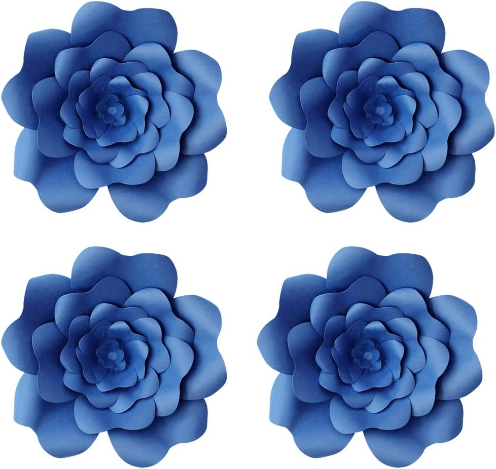 YLY's love 4pcs 3D Paper Flower Decorations Giant Paper Flowers Party DIY Handcrafted Paper Flowers for Wedding Backdrop Bridal Shower Baby Shower Nursery Wall Home Decor (Blue, 4pcs-8in)