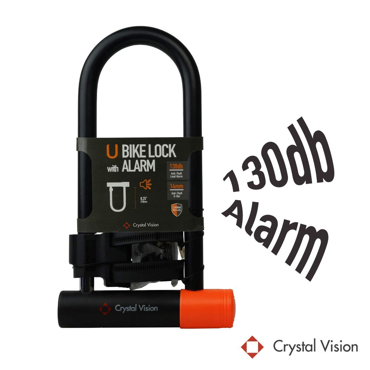 Crystal Vision SHBLA Weather Proof Anti Theft Loud 130db Alarm 14mm Heavy Duty Bike U Lock with Mount Holder. Auto Arm & Disarm, Alarm Lock, Siren Lock, Bike Alarm Lock, Road Bike,Mountain Bike by Crystal Vision Technology