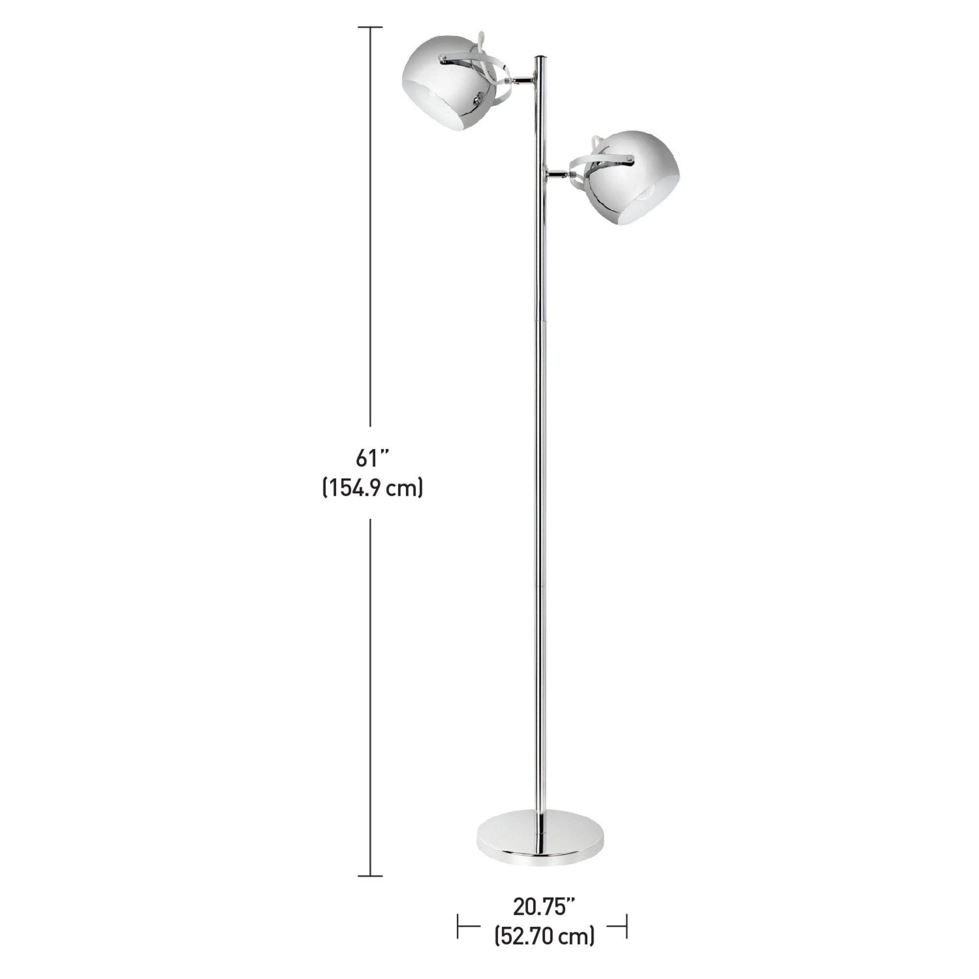 Globe Electric Miles 2-Light Adjustable Head Floor Lamp, On/Off Foot Switch, Chrome Finish, 12807 by Globe Electric (Image #5)