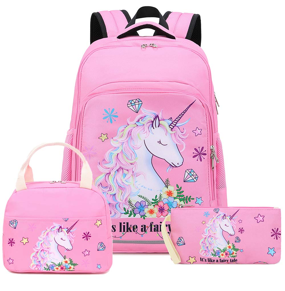 Girls Backpack for Kids Elementary Bookbag Girly School Bag with Insulated Lunch Tote and Pencil Pouch for Children (Light Pink - 3 Pices) by BTOOP