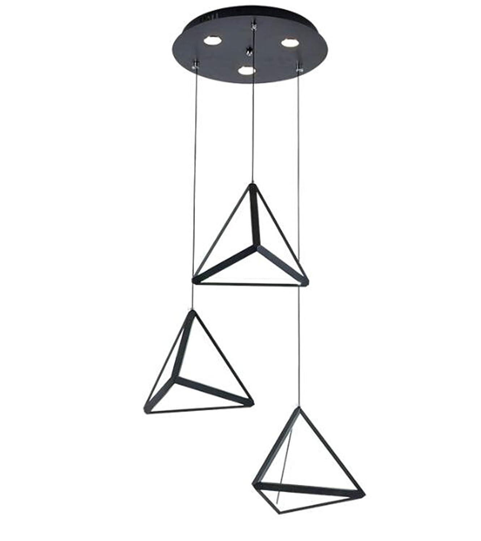 小さな新しい三角形現代のledペンダントライトノルディック調光可能ブラックゴールド吊りランプ用リビングダイニングルームの寝室 B07SKHD6MD