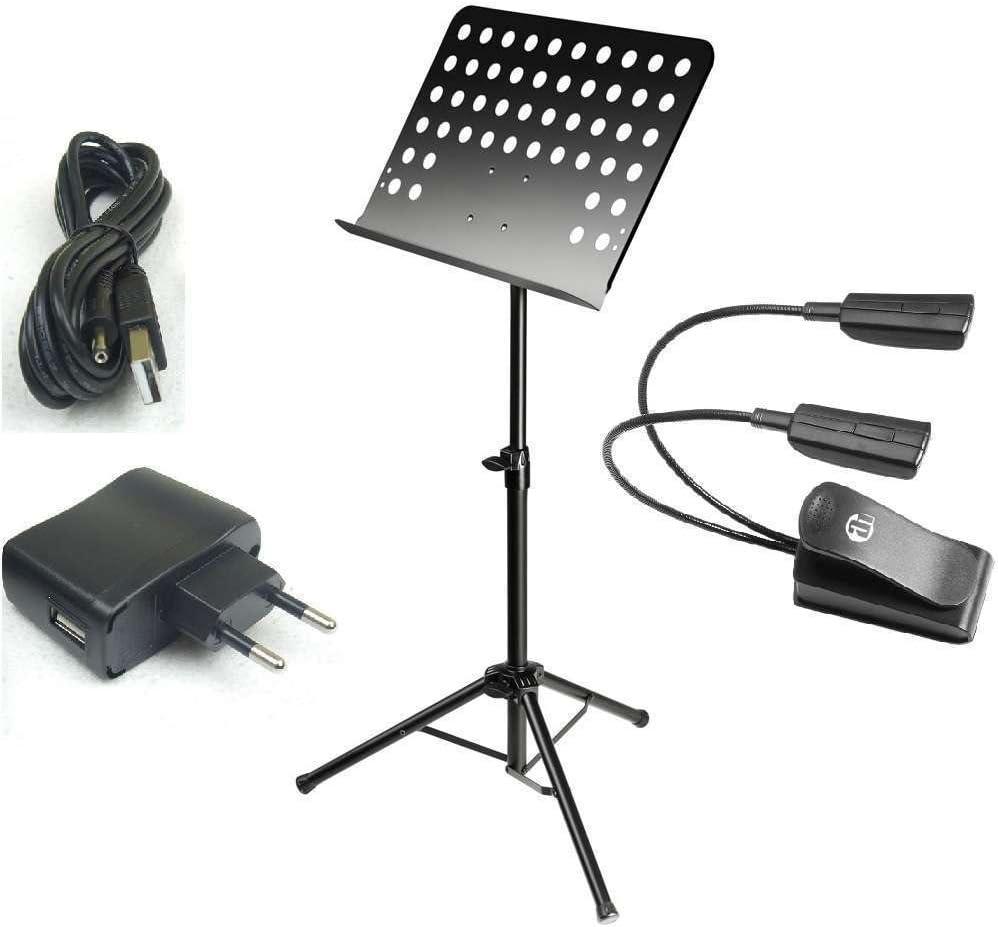 USB-Netzteil superhelle Pulteuchte 2-armig Professioneller Notenständer SMS1