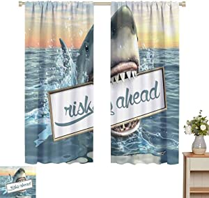 Artsy Great Shark Room Darkening Curtains for Bedroom Sea Decorations Fun Quotes Ocean Animals Scary Accessories for Men Cave IdeasFunny Home Decor Sliding Door Curtains W52 x L45 Inch White Yellow O