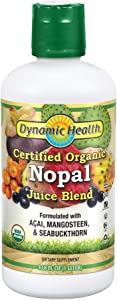 Dynamic Health Certified Organic Nopal Blend Juice   with acai, Mangosteen & Seabuckthorn   Vitamins & Amino Acids   Vegetarian, Gluten-Free   33.8oz