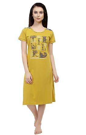 fe6d97004f Red Rose Short Nighty for Women - Yellow Printed Nighty for Women - Tshirt  Nighty - Knee Length Night ...