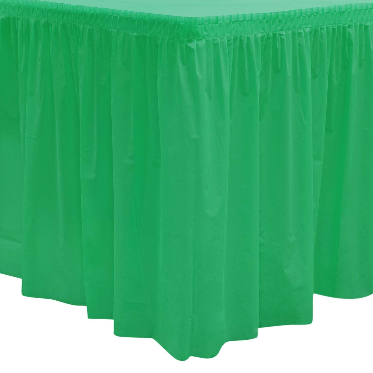 Party Essentials 529 Plastic Table Skirt, 168'' Length x 29'' Width, Kelly Green (Case of 6) by Party Essentials