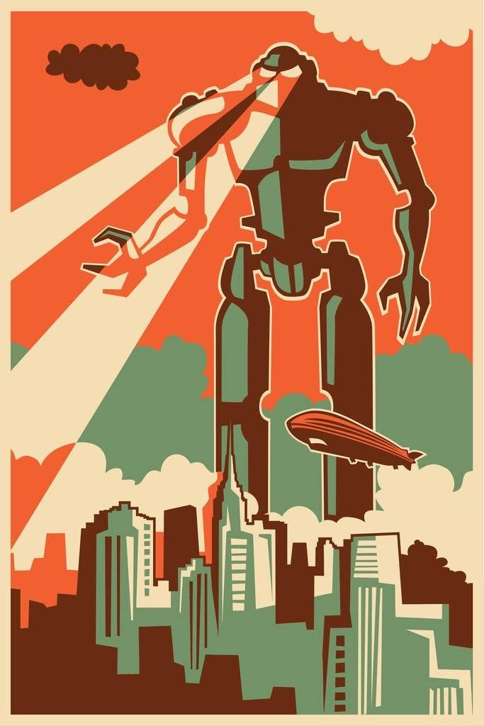 Giant Robot Attacking New York City Retro Vintage Cool Wall Decor Art Print Poster 24x36