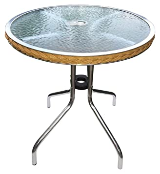 Bistro Round Tempered Glass Side Table, Coffee Table, Outdoor Pool, Patio  Table With