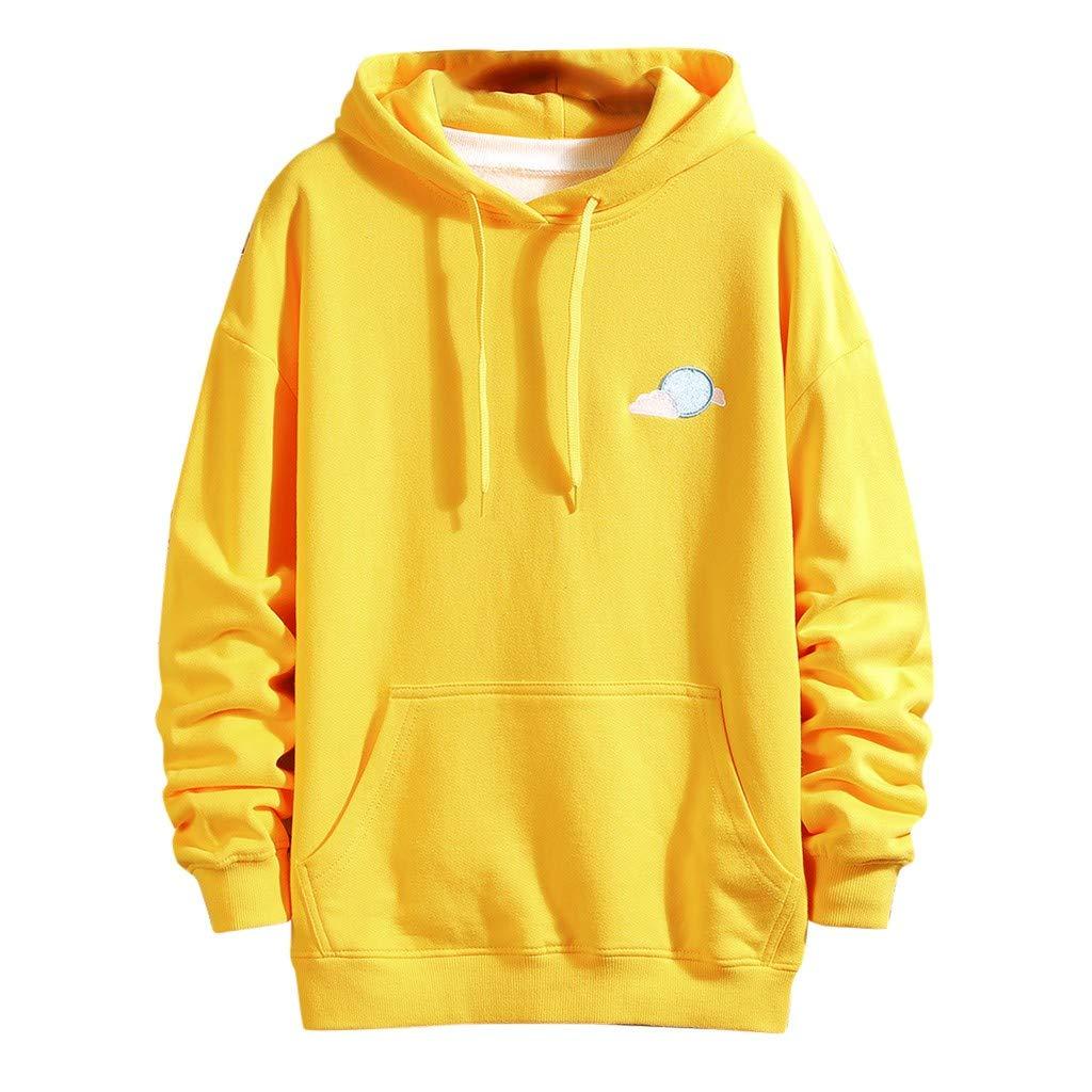 VZEXA Mens Hoodies Print Hooded Drawstring Sweatshirt Long Sleeve Casual Loose Tops(Yellow,2XL) by VZEXA
