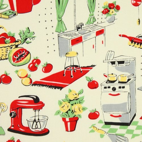 Michael Miller Fifties Kitchen Cream Fabric by the Yard - Michael Miller Cream
