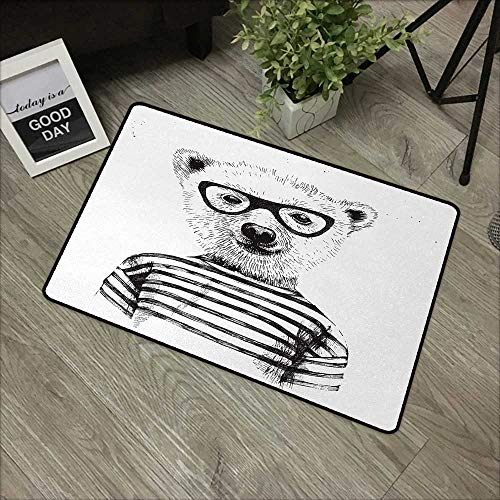 Interior door mat W16 x L24 INCH Animal,Dressed Up Hipster Nerd Smart Male Bear in Glasses Fun Character Animal Art Print,Black White Our bottom is non-slip and will not let the baby slip,Door Mat Car