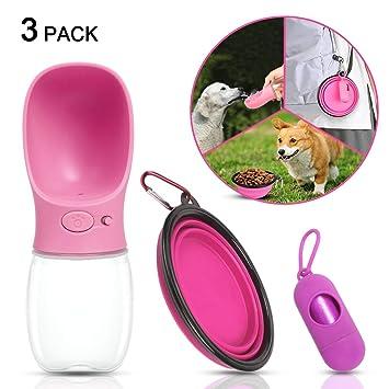 Botella de agua portátil para perros, grado alimenticio ABS a prueba de fugas Dispensador de