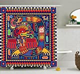 Ambesonne Mexican Decorations Collection, Aztec Pattern Ethnic Colorful Ornamental Mythology Ancient History Snake Image, Polyester Fabric Bathroom Shower Curtain Set with Hooks, Red Navy Green