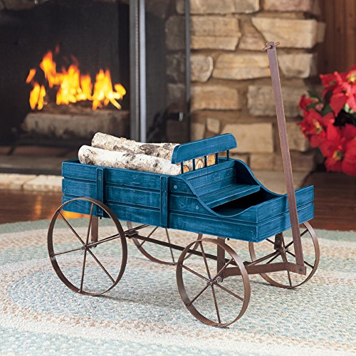 Collections Etc Amish Wagon Decorative Indoor/Outdoor Garden Backyard Planter, Blue