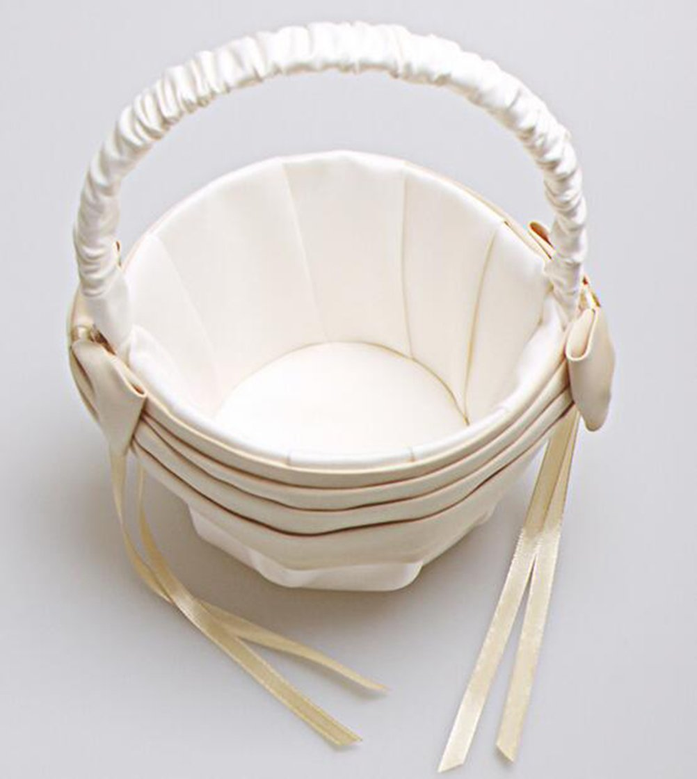Vivivalue Flower Girl Basket Wedding Collection Traditional Ivory by Vivivalue