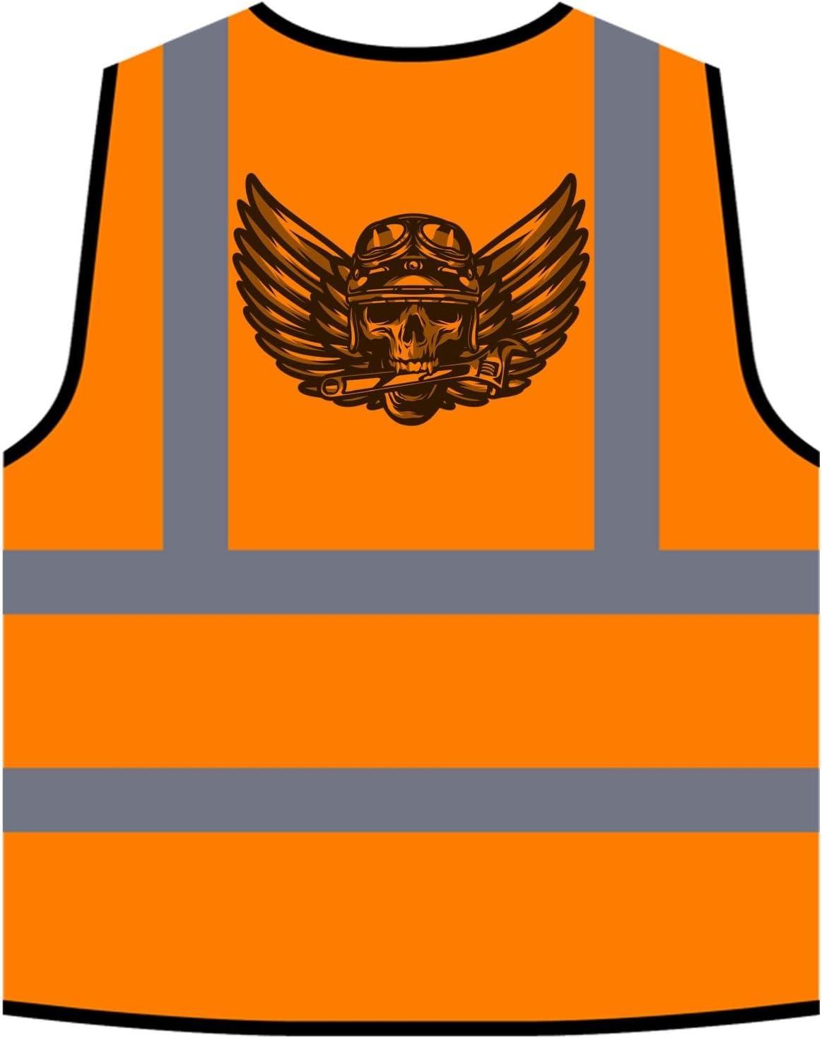Ghost Rider Skull Biker Veste de Protection Orange personnalis/ée /à Haute visibilit/é u654vo