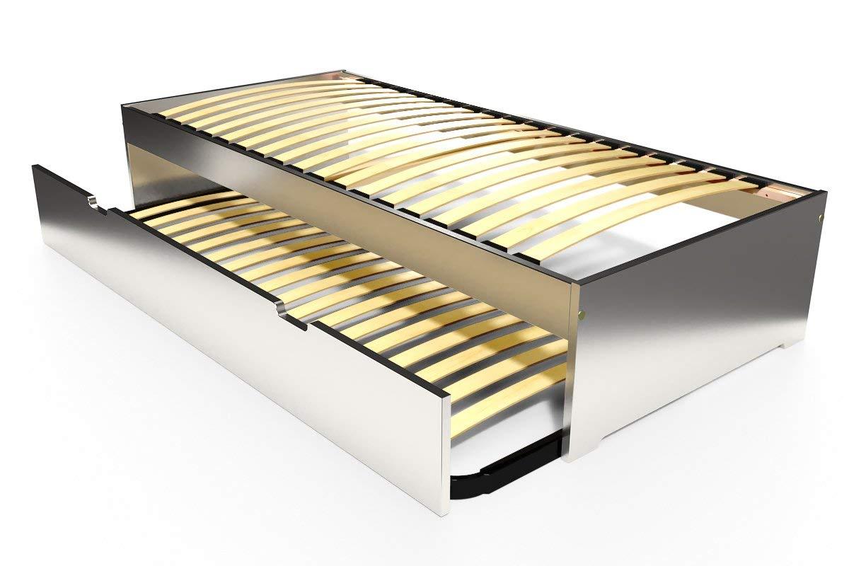 ABC MEUBLES - Ausziehbett Malo 90x190 cm Holz - TOPMALO90 - Grau Aluminium, 90x190