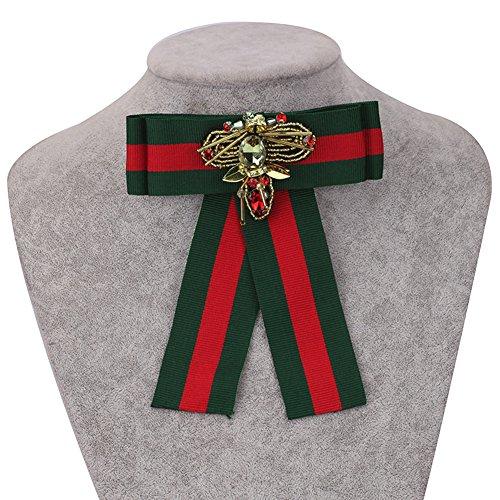 Ribbon-Rhinestone-MenWomen-Pre-Tied-Neck-Tie-Brooches-Pin-Bow-Tie-Collar-Jewelry