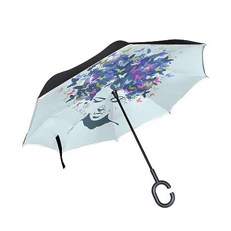 1bb8dcc6d086 Amazon.com : Jojogood Woman and Butterflies Inverted Umbrella ...