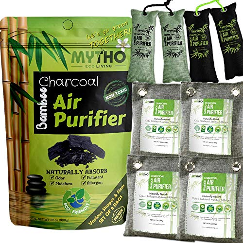 (Activated Charcoal Odor Eliminator Cat Litter, Car Air Freshener, Bamboo Charcoal Bags , Shoe Deodorizer, Odor Absorber , Home Air Purifier, Odor Freshener, Air Filter, Gym Bag, (Set of 8 Bags))