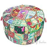 Eyes of India 22 X 12 Green Round Pouf Pouffe Ottoman Pouf Cover Floor Seating Bohemian Boho Indian