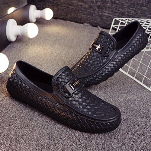 Boots Uomo Casual Mocassini Xinwcang Scarpe da Scarpe Chelsea Classico Piatti Pantofola Shoes Driving Nero Passeggio wpFq8