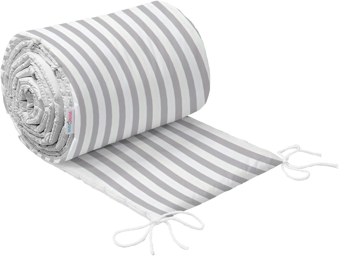 Blue BABY INFANT PADDED BUMPER FOR COT BED 140X70 STRAIGHT 190 CM 100/% COTTON /…
