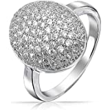 Bling Jewelry Pave Oval CZ Sparkle Engagement Ring Rhodium Plated Brass