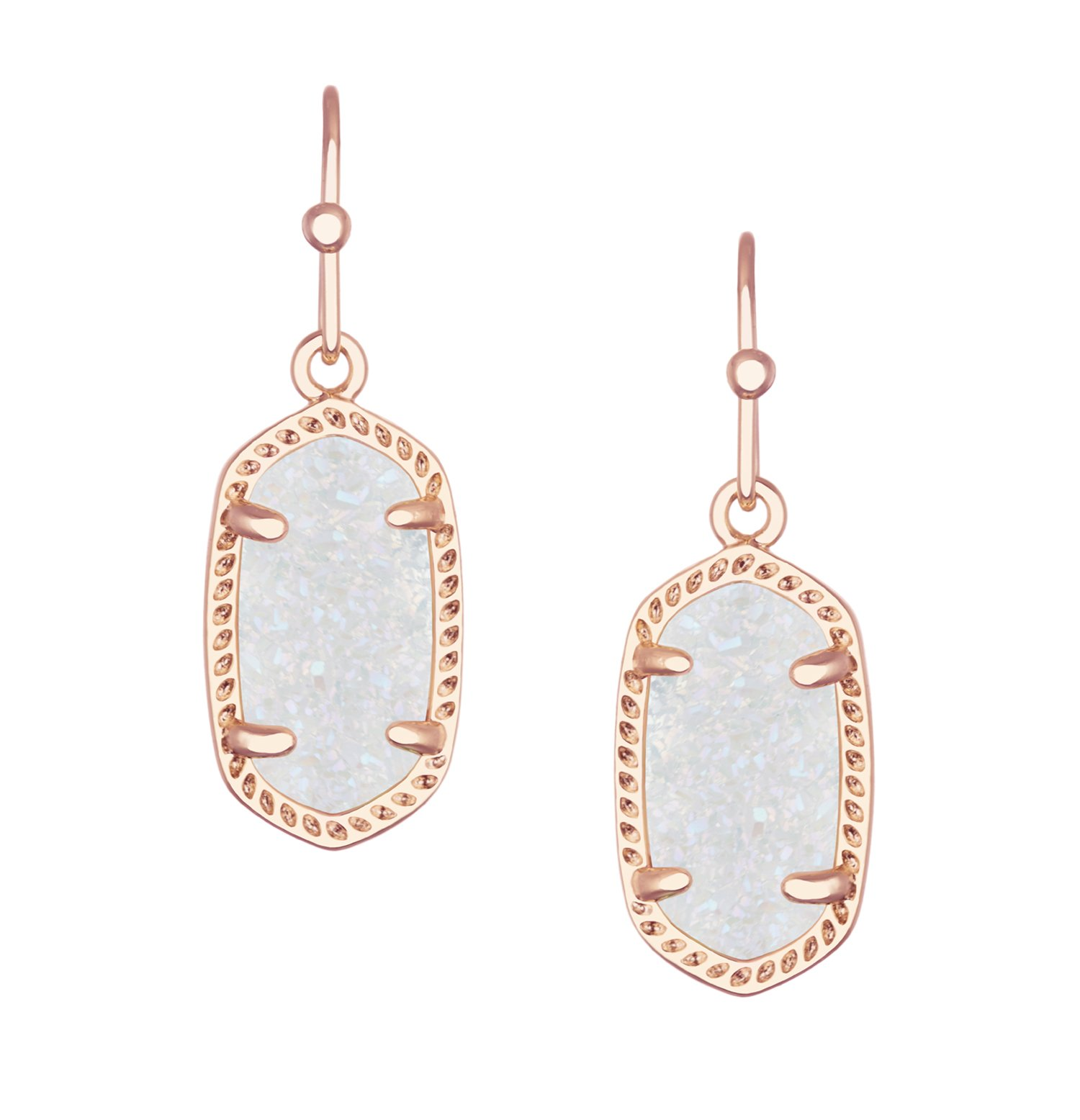 Kendra Scott Signature Dainty Lee Earrings in Rose Gold Plated and Iridescent Drusy