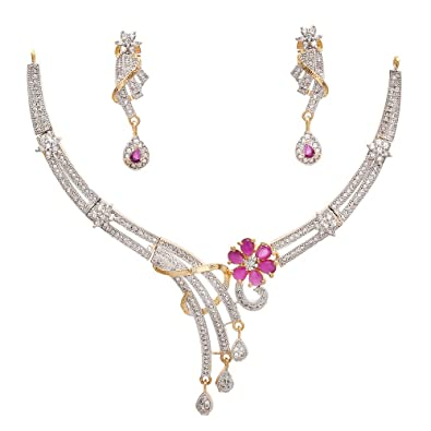 b15d74b9cf7 Buy Geode Delight American Diamond Cz Gold-Plated Necklace Set For Women  Online at Low Prices in India