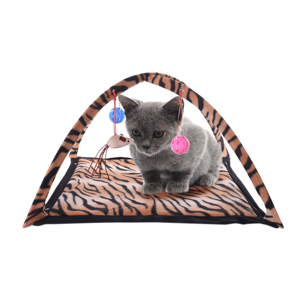Molie Interactive Cat Activity Play Mat with Hanging Toy Balls, Foldable Multifunction Pet Kitten Padded Bed