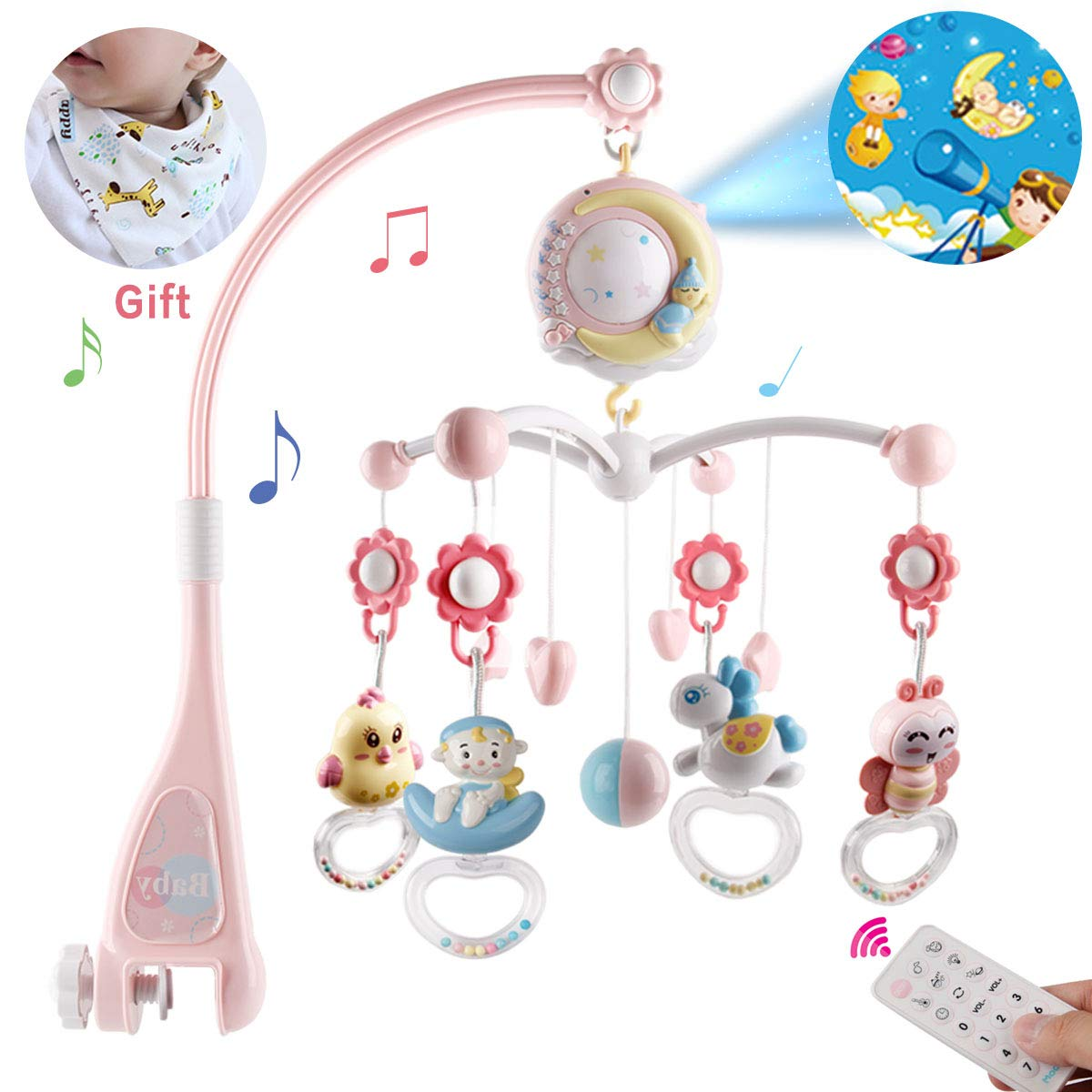 BOBXIN Baby Musical Crib Mobile with Projector and Night Light,150 Music,Timing Function,Take Along Mobile Music Box and Rattle,Gift for Toddles(with Bibs)