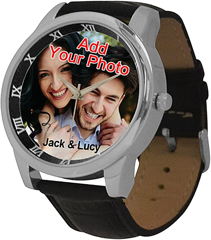 Custom Watches with Photo for Men, Personalized Fathers Gift for Husband or Dad, Leather Band