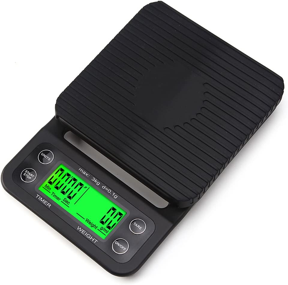 OUTRY Coffee Scale with Timer, High Accuracy Kitchen Food Scale with Tare Function, 6.6LB/3KG Max Load, 0.1g Precision Sensor, Batteries Included