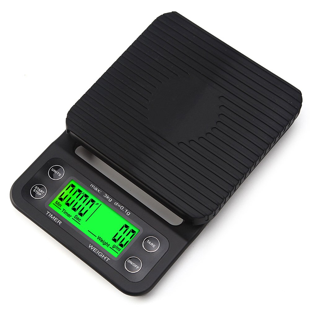 outry coffee scale with timer high accuracy kitchen food scale with tare function 66lb3kg max load 01g precision sensor batteries included