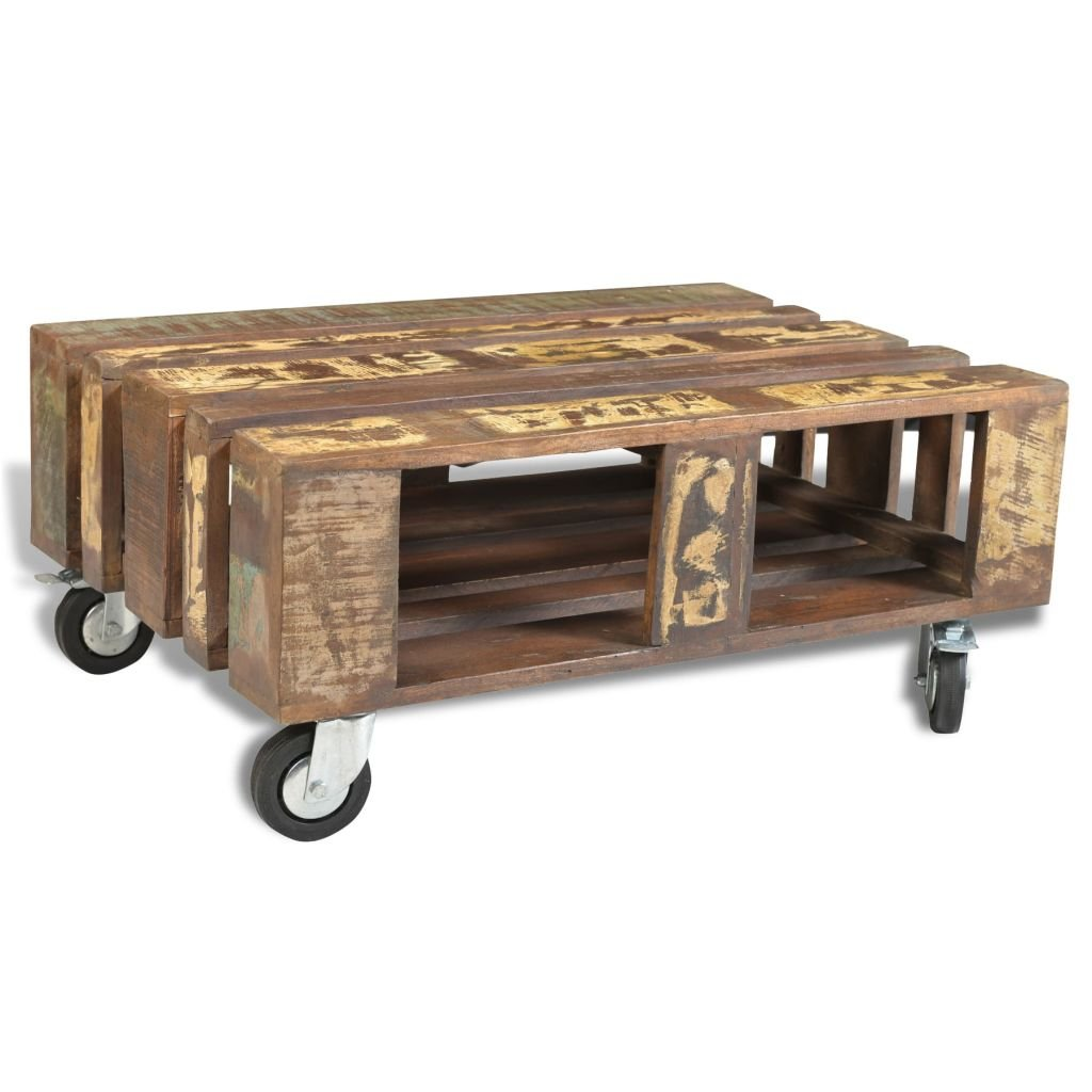 Antique Style Reclaimed Wood Coffee Table With 4 Wheels