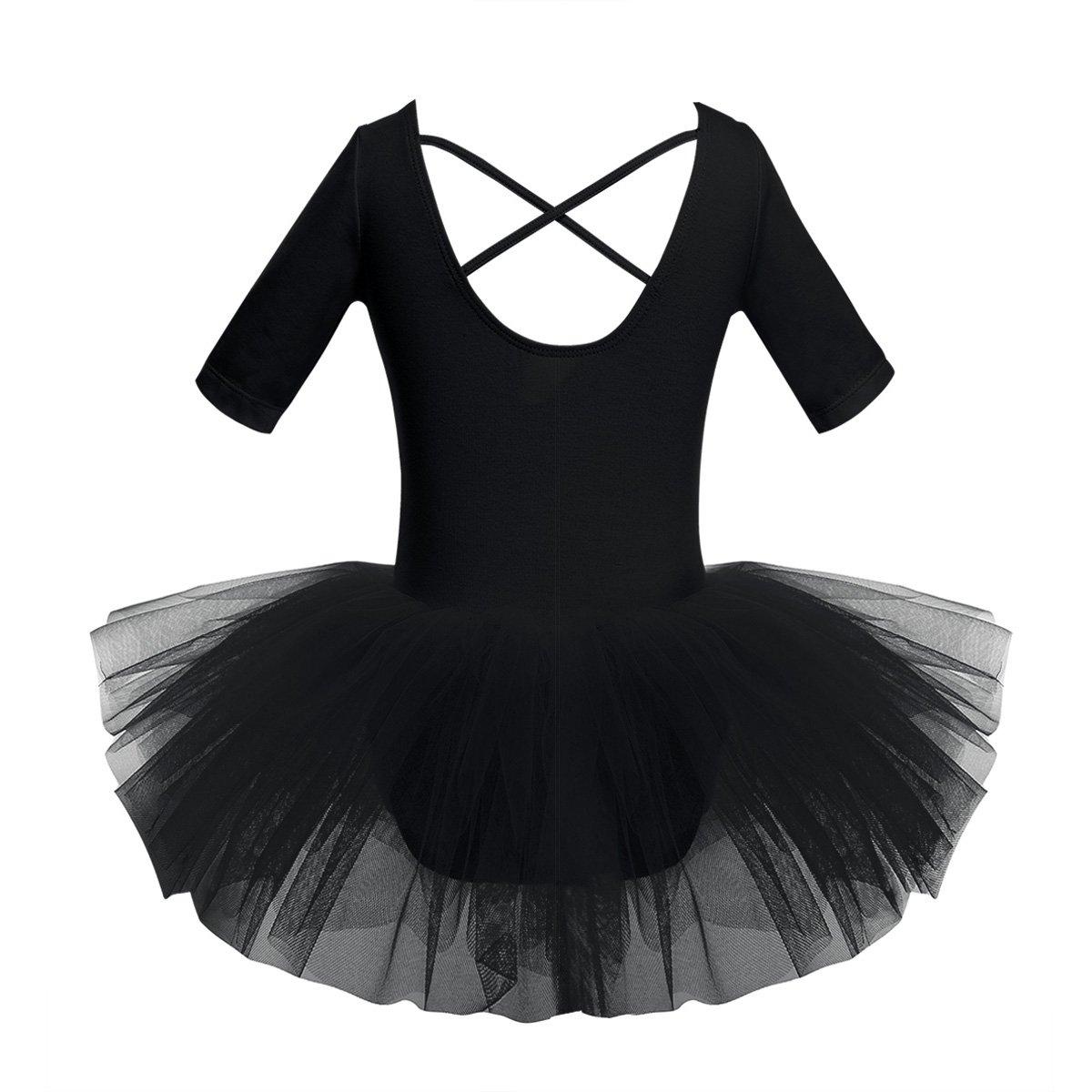 6ae4392f7 YiZYiF YiZYiF Kids Girl s Short Sleeved Gymnastics Ballet Dance ...