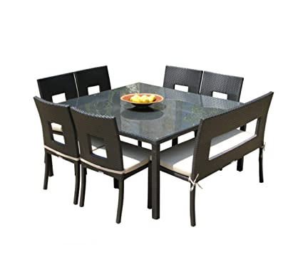 8430142255 Amazon.com: Mangohome Outdoor Wicker Resin 8-Piece Square Dining Table  Chairs and Bench Set: Garden & Outdoor