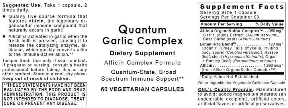Quantum Garlic Complex - 120 Veg caps 2 Bottles - Allicin/Allicidin/Botantical Formula; Quantum-State, Broad Spectrum Immune Support